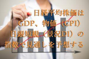 日経平均株価はGDP・物価(CPI)・日銀短観(景況DI)の指数で見通しを予想する